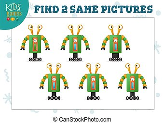 Find two same pictures kids game vector illustration. Activity for preschool children with matching objects and finding 2 identical cute robots