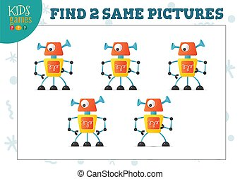 Find two same pictures kids game vector illustration. Educational activity for preschool children with matching objects and finding 2 identical. One-eyed cartoon funny humanoid robot