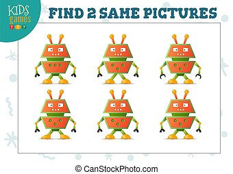 Find two same pictures kids puzzle vector illustration. Activity for preschool children with matching objects and finding 2 identical. Cartoon funny robot or alien game