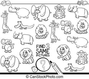 Black and White Cartoon Illustration of Finding Two Same Pictures Educational Activity Game for Children with Wild Animal Characters Coloring Book