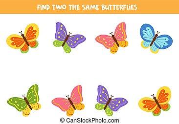 Find two the same cute cartoon butterflies.