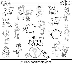 find two the same pictures coloring book - Black and White ...