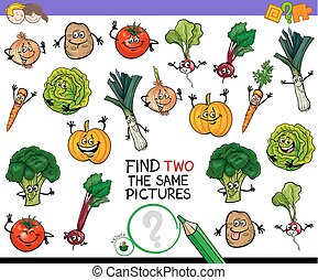 find two the same vegetables game