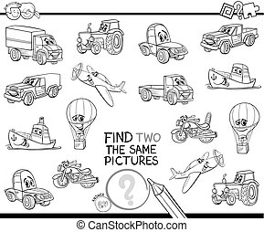 find two the same vehicles color book - Black and White ...