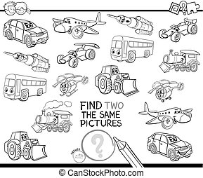 find two the same vehicles coloring book - Black and White ...