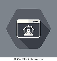 Find us online button - Vector flat icon