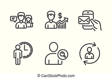 Find user, People talking and Waiting icons set. Business growth, Messenger mail and Person info signs. Vector
