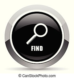 Find vector steel icon. Chrome border round web button....