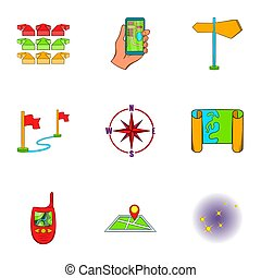 Find way icons set, cartoon style