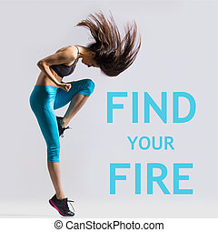 Find your fire - Beautiful young fit modern dancer lady in...