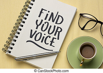 Find your voice inspirational handwriting