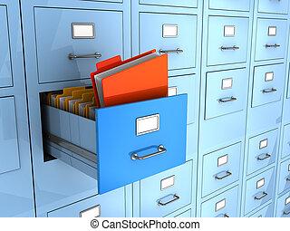 3d illustration of folder finded in big archive cabinet