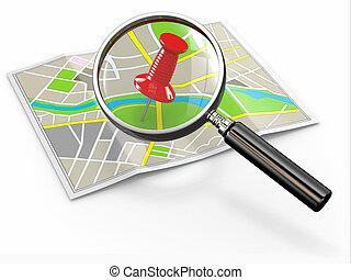 finden, location., loupe, und, reißnagel, auf, landkarte