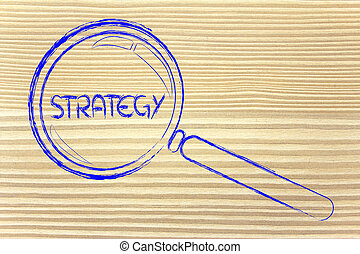 finding a business strategy, magnifying glass design