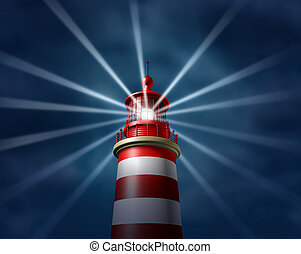 Finding answers and business solutions by searching in all directions putting light on new paths to opportunity and success with a lighthouse searchlight symbol on a illuminating the night sky.