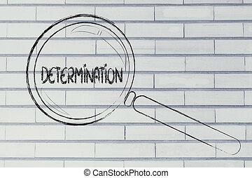 finding determination, magnifying glass design