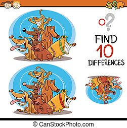 finding differences cartoon task - Cartoon Illustration of...