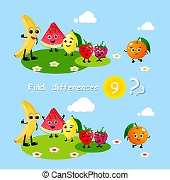 Finding differences. Children activity game happy cartoon food fruits banana watermelon lemon strawberry. Set for kids book