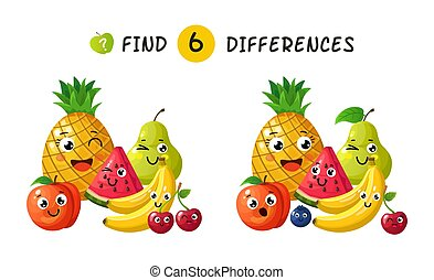 Finding differences. Children game with happy cartoon fruits. Vector illustration for kids book