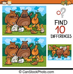 finding differences game cartoon - Cartoon Illustration of...