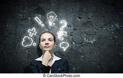 Finding inspiration - Image of thoughtful businesswoman ...