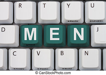 Finding Men online, A gray computer keyboard with the word...