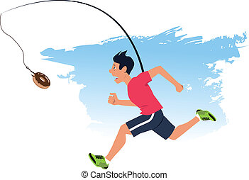 Man running after a doughnut, dangling from a fishing rod in front of his face