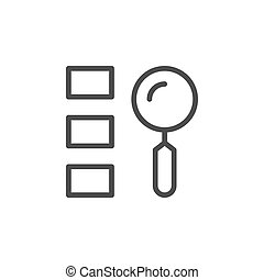 Finding option line outline icon isolated on white. Vector illustration
