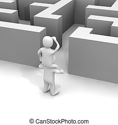 Finding path through labyrinth. 3d rendered illustration.