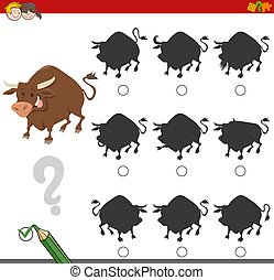 Cartoon Illustration of Finding the Shadow without Differences Educational Activity for Children with Bull Farm Animal Character