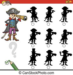 finding shadow game with pirate - Cartoon Illustration of ...