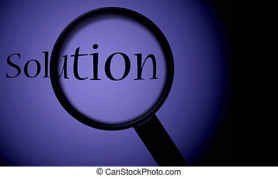 Finding Solution - Solution with a magnifying glass; also...