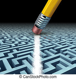Finding solutions and solving a problem searching the best creative answers against a complicated and complex three dimensional maze having a clear shortcut path created by erasing the labyrinth with a pencil eraser.