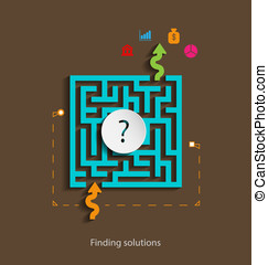 Finding solutions flat design concept template with icons