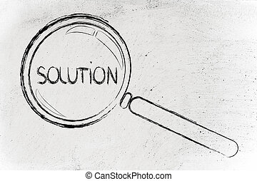 finding solutions, magnifying glass design