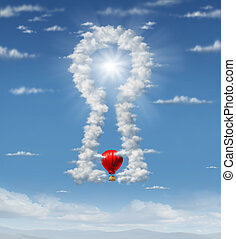Finding the answer with a group of clouds in the sky in the shape of a key hole as a business concept with a red hot air balloon flying up towards the glowing sun target as an icon of ideas and inspiration.