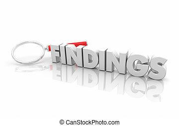 Findings Magnifying Glass Search Facts Info Research Word 3d Illustration