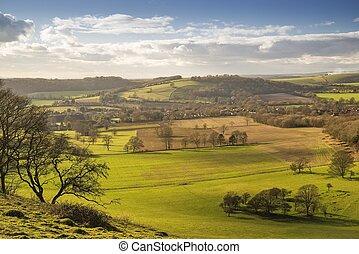 Findon from Cissbury Ring - Downland village under winter...