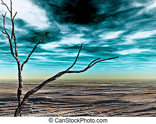 desolate land - fine 3d image of abstract desolate land,...