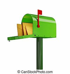 green mailbox - fine 3d image of classic green mailbox with ...