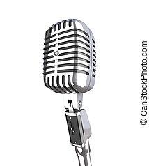 vintage microphone - fine 3d image of classic metallic...