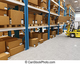 warehouse - fine 3d image of classic warehouse and forklift ...