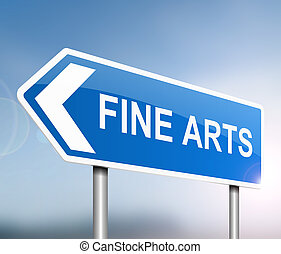 3d Illustration depicting a sign with a fine art concept.