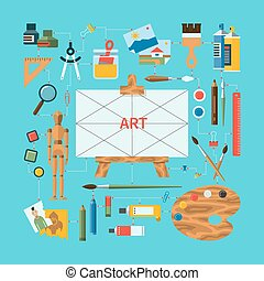 Fine art concept with icons of art instruments