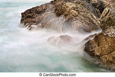 soft water on rocks