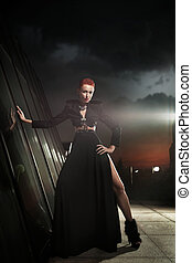 Fine art photo of a lady in stylish dress