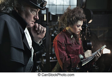 Fine art photo of a young brunette in stylish interior with old man