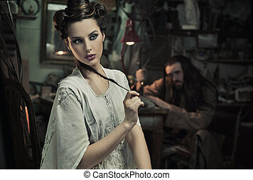 Fine art photo of beautiful woman and the beast