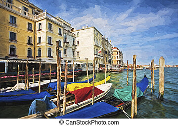 Fine art print of Gondolas along the Grand Canal -...