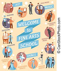 Fine Arts School Poster - Fine arts school poster with art...